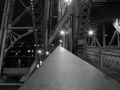 Grand Structure (Shana Jo/A Mother's Soul) Tags: bw dark nighttime duluth aerialliftbridge walkingacross