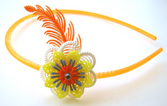Orange, Yellow, White and Blue Vintage Flowers Headband