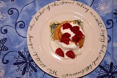 Lemon Bread With Cream Mixture and Raspberries (zenmasterlauren) Tags: dessert lemon cream yogurt raspberries confectionerssugar applesforjam lotsofbutter