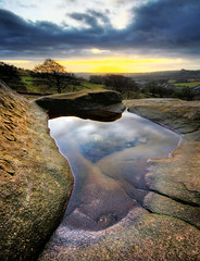 Black Rocks, Derbyshire (Corica) Tags: uk greatbritain sunset england reflection pool clouds photoshop rocks derbyshire wideangle hdr matlock blackrock sigma1020mm photomatix canon400d