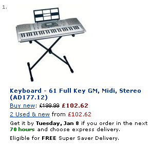 MIDI keyboard on Amazon