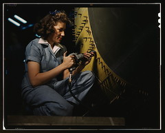 Riveter at work on Consolidated bomber, Consolidated Aircraft Corp., Fort Worth, Texas  (LOC)