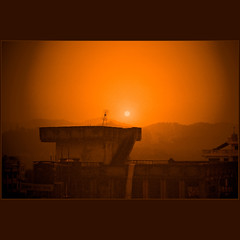 Kathmandu sunset (Katarina 2353) Tags: world city travel nepal light sunset shadow sky orange sun film silhouette clouds buildings photography nikon asia flickr ray image earth explore kathmandu mailciler katarinastefanovic katarina2353