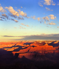 grand canyon sunrise - light of the east (Xuan Che) Tags: travel blue red arizona sky sunlight mountain southwest color film rock sunrise river landscape nationalpark colorado december kodak 28mm grand