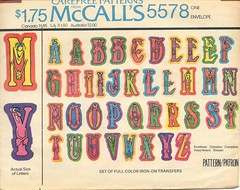 Iron-on transfer letters, 1977