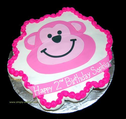 Pink Monkey cupcake cake
