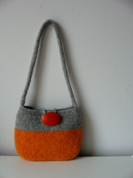orange and grey purse
