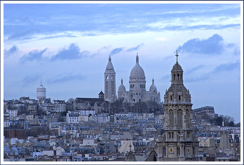 Rita Crane Photography:  Paris / twilight / buildings / village / rooftops /  Montmartre & Sacre Coeur at Dusk, Paris