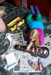 #8 (evilibby) Tags: girl wardroberemix painting paint bright stones newspapers livingroom human libby 365 paints jeez violincase 365days morrisdancingcats morrisdancercats