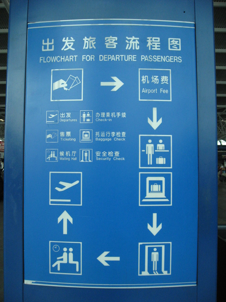 Guidance for departing passengers at a Chinese airport