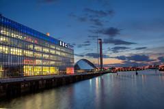 BBC & water (Unh@ppyb@st@rd) Tags: uk scotland riverclyde glasgow hdr photomatrix bbcscotlandbuilding hdratnight