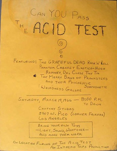 3/19/66 Pico Acid Test - Grateful Dead last minute poster after location change to Carthay Studios