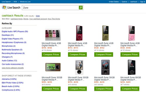 comparison shopping page