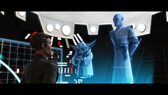 Clone Wars - Admiral Yularen consults with Yoda and Mace Windu in a scene from STAR WARS: THE CLONE WARS. The Lucasfilm Animation production will be released Friday, Aug. 15, 2008, by Warner Bros. Pictures.