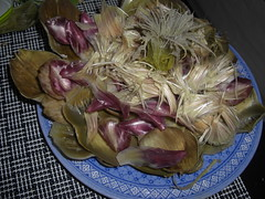 The remains of an artichoke