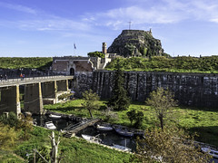 Palaio Frourio entrance (Tony Tomlin) Tags: corfu greece ioniansea castle bridge moat gate fortress palaiofrourio boats