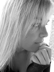 Day 191 (juliejigsaw) Tags: blackandwhite blonde ponder sly