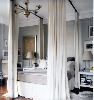 Domino {hollywood regency gray and white bedroom}