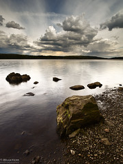 Here Comes The Rain (.Brian Kerr Photography.) Tags: sky rain clouds canon landscape scotland rocks dumfries galloway lochken castledouglas eos5dmkii