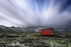 Emergency Shelter (orvaratli) Tags: travel moon mountains clouds landscape lava iceland midnight shelter icelandic blueribbonwinner arcticphoto rvaratli orvaratli