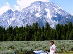 Lois and Grand Tetons (lreed76) Tags: 2006 mountmoran grandtetons lois wy volcanicdike