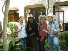 in our courtyard outside the office (littlemoresunshine) Tags: costumes friends party cute halloween hat work for costume education cowboy gun play hats dressup coworkers research national western cowgirl bandit cowgirls cowboyhat insurance employee 2007 alliance employees tna cowgirlhat halloween2007 nationalallianceforinsuranceeducationresearch