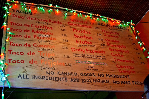 The old menu board