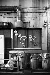 trash cans (F_blue) Tags: streetart tokyo kodak kichijoji 50mm12 graffitiart  nikomatel p3200tmax fblue2008
