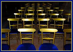 Waiting for the ceremony (Nespyxel) Tags: blue wedding gold chair chairs pov blu empty ceremony sedie sedia matrimonio stefano oro prospettiva cerimonia prospective emptychairs challengeyouwinner aplusphoto fdream nespyxel stefanoscarselli pleasedontusethisimageonwebsitesblogsorothermediawithoutmyexplicitpermissionallrightsreserved