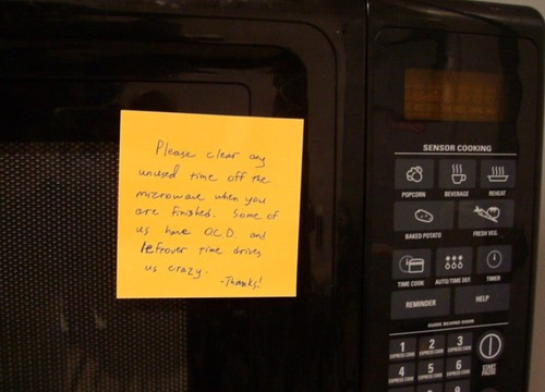 Please clear any unused time off the microwave when you are finished.  Some of us have O.C.D. and leftover time drives us crazy.  -Thanks!