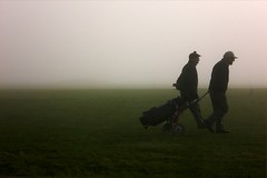 Golfers. (DJ Bass) Tags: two mist men weather sport golf walking silhouettes double atmospheric golfers mistymorning 200850plusfaves