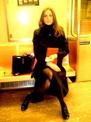 that girl on the train again (yshister) Tags: birthday family newyork hot yellow lady subway model legs metro sister birthdaygirl tatyana mycity prettylady     girlinblack redplanner a