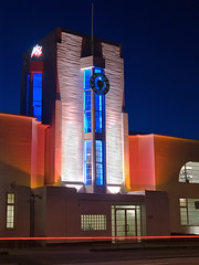 Merlin House, Croydon, London (Metropol 21) Tags: london clock architecture night 1930s unitedkingdom modernism landmark clocktower artdeco flagpole croydon msl streamlinemoderne waddon exteriorlightingdesign merlinhouse