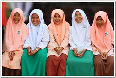 Keep Smiling (l i j) Tags: girls public smile kids uniform muslim hijab malaysia innocence cheerful schoolgirls melaka malacca lij muslimgirls lijesh  flowersofislam       lijeshphotography wwwfacebookcomlijeshphotography