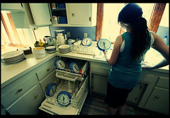 doing the dishes (caterpillars) Tags: selfportrait clock me kitchen wideangle dishwasher canondigitalrebel dishes 2008 clocks cabinets 1128 sigma1020mm fakexpro canon400d canonxti lauradyszynski