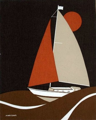 Marushka - sailboat (brown and orange)