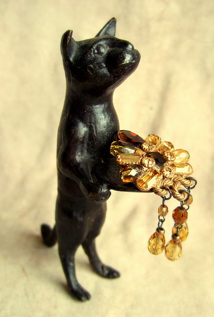 Bronze black cat