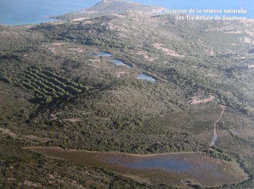 Photo aérienne de la réserve naturelle de Tre Padule et de ses 4 mares