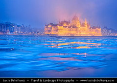 Hungary - Budapest - Hungarian Parliament Building - Iconic landmark reflected at Danube River full of floating ice (© Lucie Debelkova / www.luciedebelkova.com) Tags: hungarian parliament hungarianparliament budapest magyarország hungary danube dunaj river europe evropa eu twilight dusk world exploration trip vacation holiday place destination location journey tour touring tourism tourist travel traveling visit visiting sight sightseeing wonderful fantastic awesome stunning beautiful breathtaking incredible lovely nice best perfect water waterscape wasser agua shoreline shore beach praia plage spiaggia strand wwwluciedebelkovacom luciedebelkova luciedebelkovaphotography