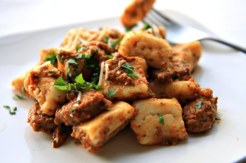 Ricotta Gnocchi with Roasted Red Pepper Pesto
