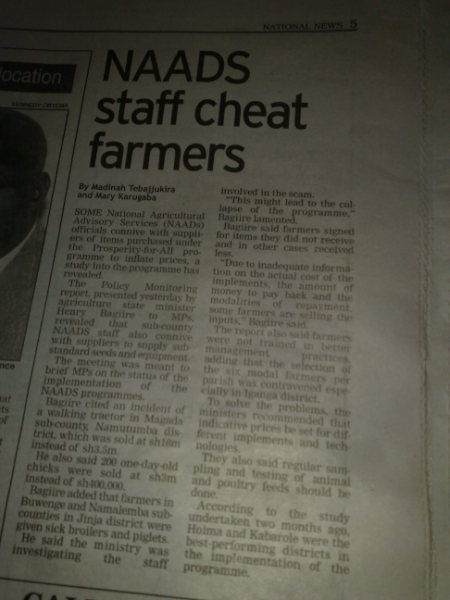 NAADS Cheats Farmers Article