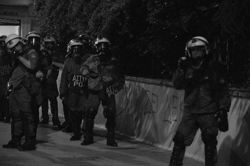 Greek riot police ready to go into action