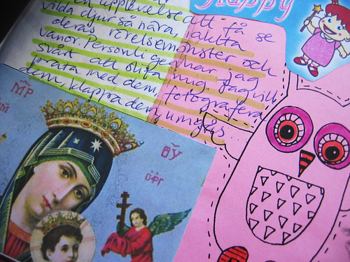 Pink owl - art journaling in the details