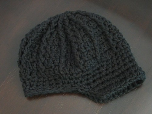 Newsboy Baby Hat Pattern - Black Cotton Crochet Visor Beanie - 0 to 3 Month  - f4a255c22f8
