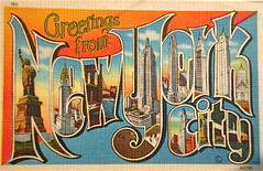 Greetings from New York City postcard (Smaddy) Tags: city nyc newyorkcity bridge usa ny building monument skyscraper vintage linen postcard statueofliberty bigletter greetingsfrom largeletter metrocraft