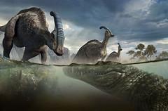 50ft Deinosuchus and Parasaurolophus