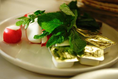 mint, radish, butter