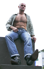 jeans_boots_7059 (picman1108) Tags: hairy man male belt boots booted chest hunk crotch jeans bulge cowboyboots
