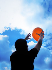 Day 178 | Set Me Free (ir0cko) Tags: blue sky orange selfportrait clouds balloon day178 complimentarycolors 365days thisistoday