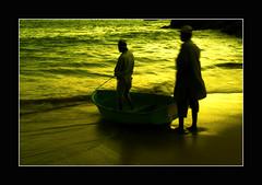 off to a golden voyage (!!sahrizvi!!) Tags: pakistan sunset reflection net beach water beautiful silhouette fishing fisherman sand fishermen dusk ruleofthirds rizvi sahrizvi sarizvi aplusphoto